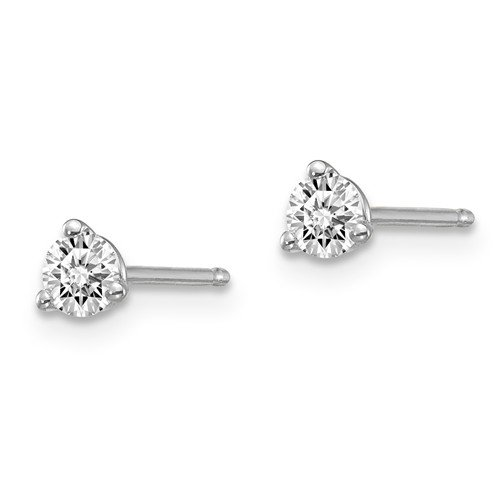 14kw 1/4ctw Certified VS/SI D,E,F Lab Grown Diamond 3 Prong Earring