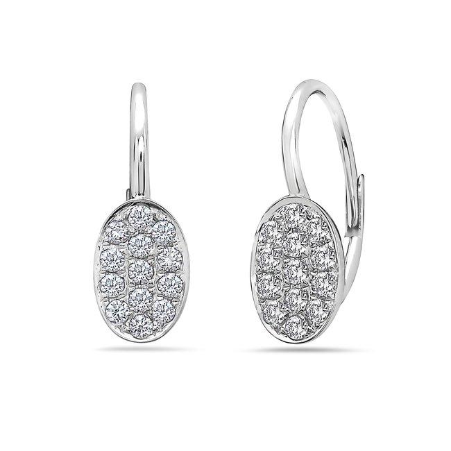 0.34 Total Carat Weight Diamond Oval Disc Earrings Set in 14 Karat White Gold
