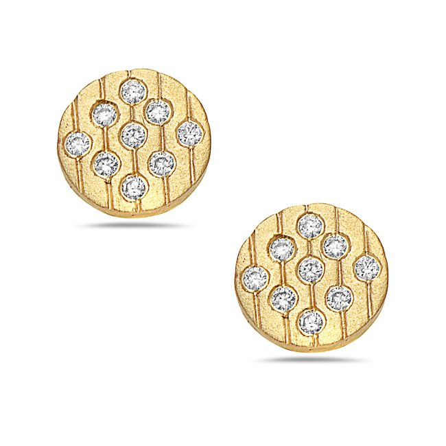 0.18 Total Carat Weight Diamond Earrings Set in 14 Karat Yellow Gold