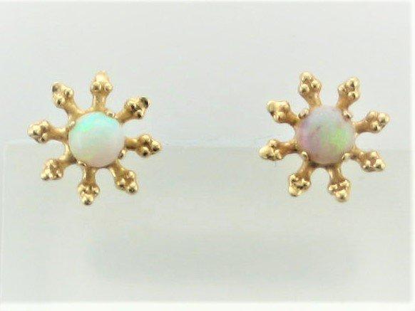 Vintage Opal Flower Earrings Set in 10 Karat Yellow Gold