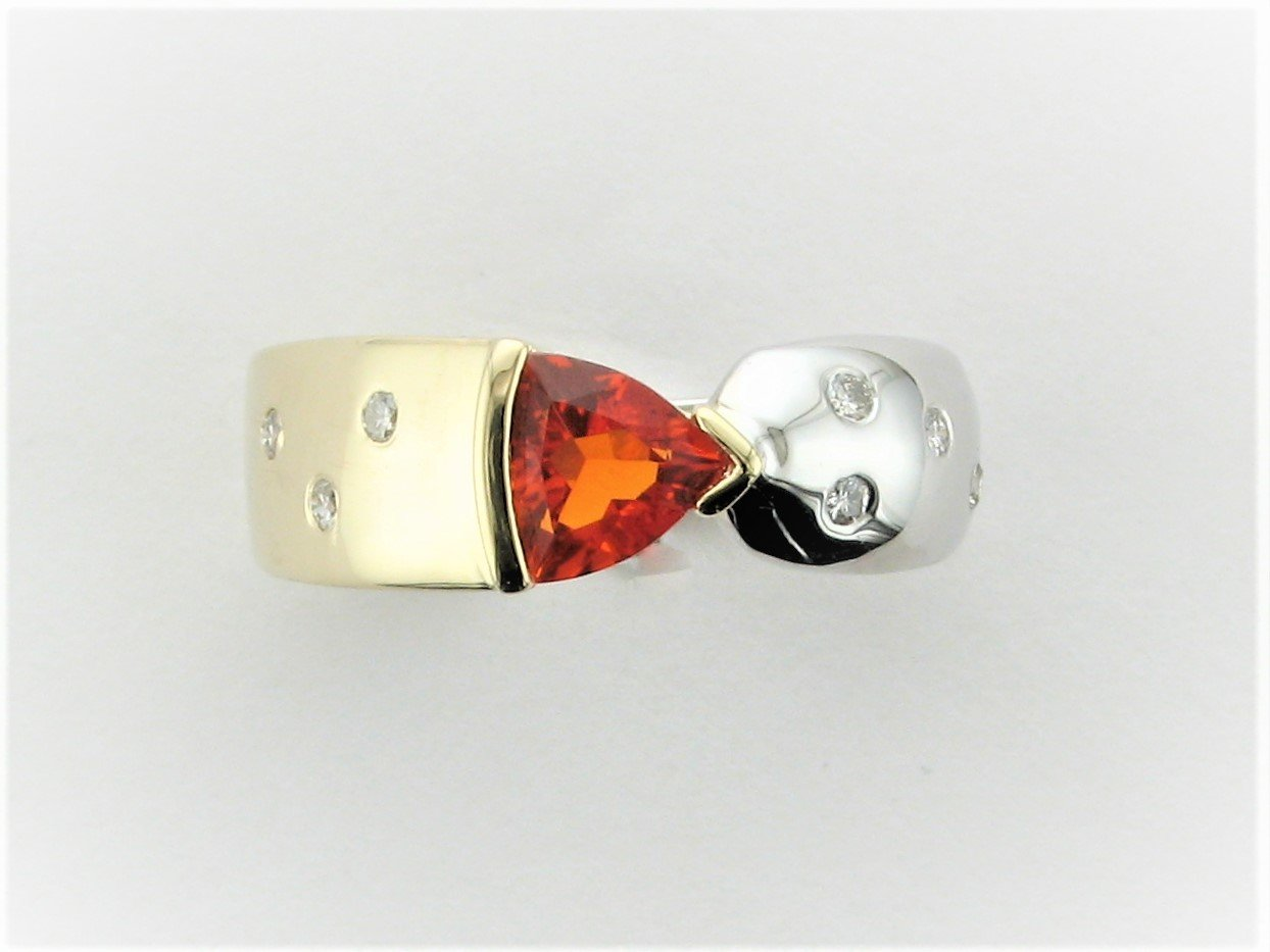 0.55 Total Carat Weight Mexican Fire Opal and Diamond Ring in 14 Karat Two Tone Yellow and White Gold
