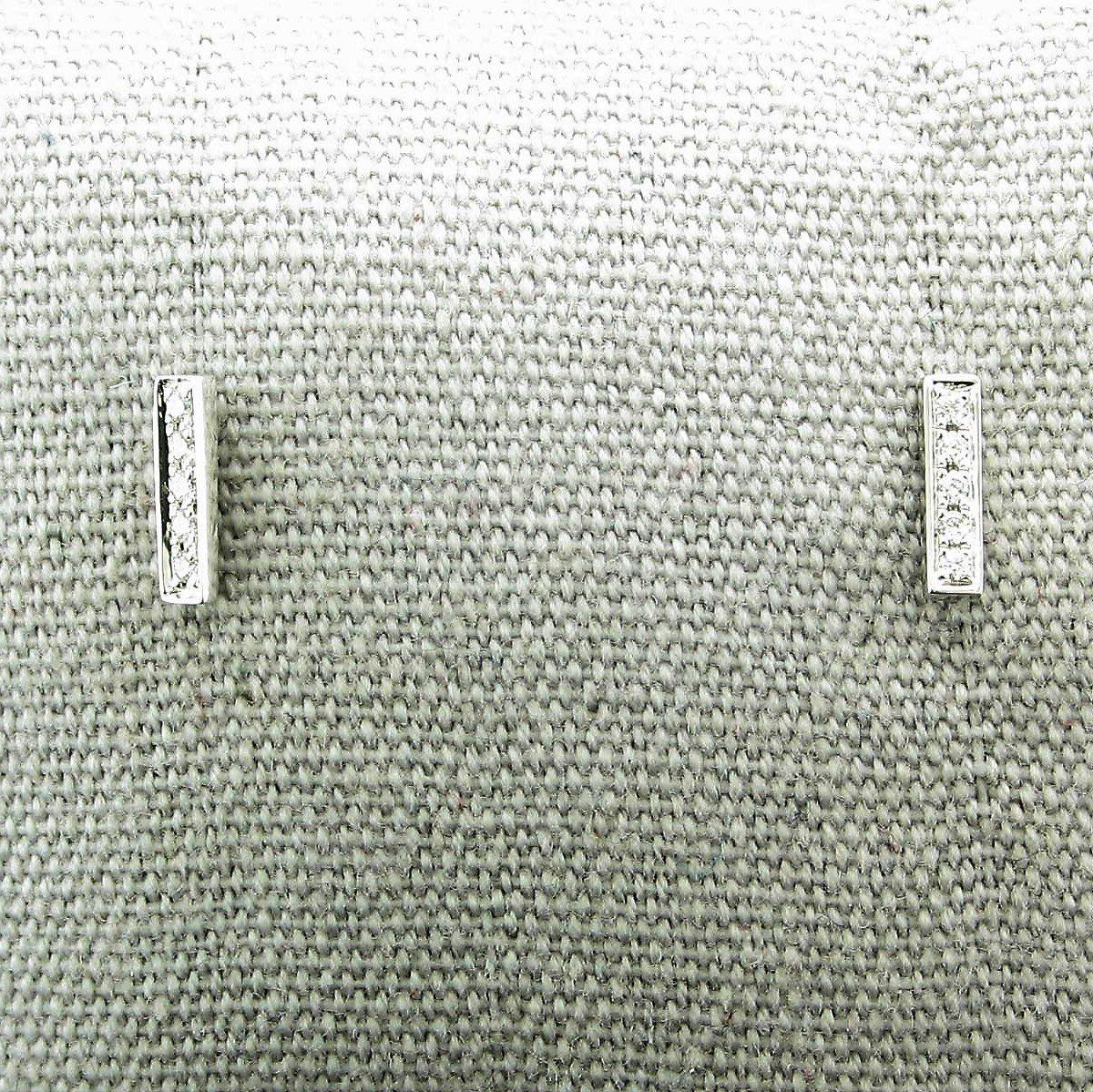 0.08tcw Diamond Vertical Bar Earrings set in 14K White Gold