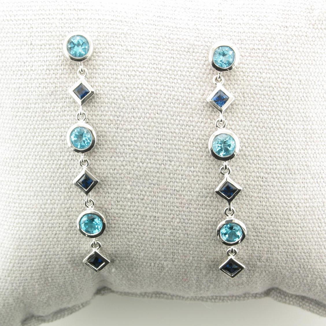 1.50tcw Sapphire & Blue Topaz Drop Earrings in 14k White Gold