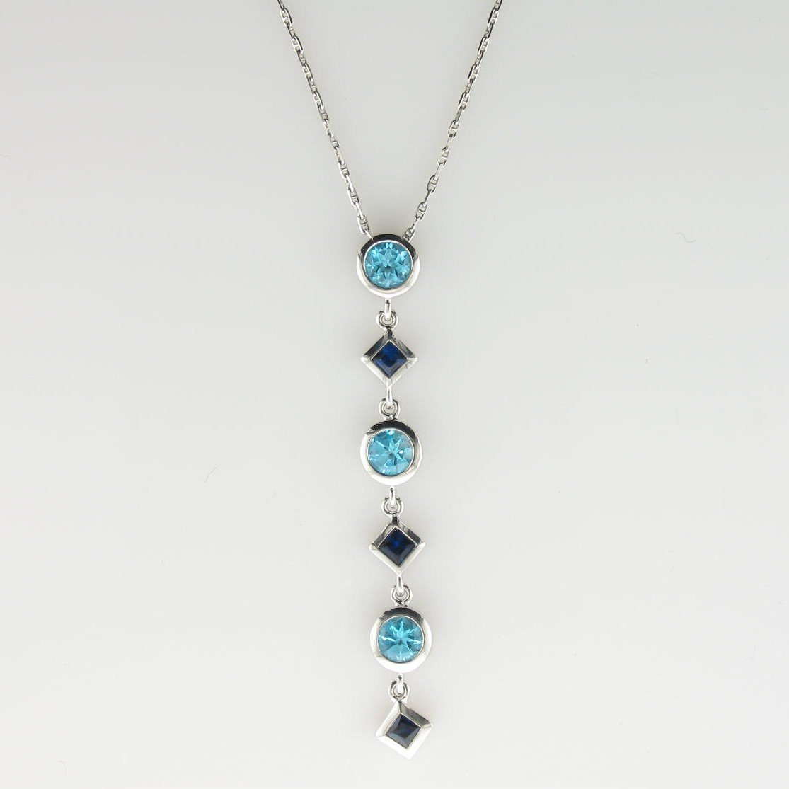 0.75tcw Sapphire & Blue Topaz Drop Necklace in 14k White Gold