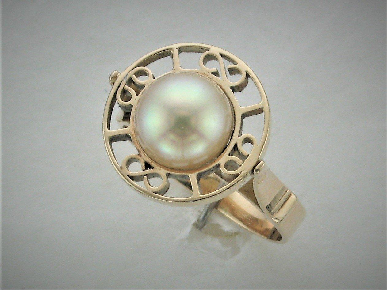 8.5 MM  Freshwater Pearl Ring Set in 14 Karat Yellow Gold