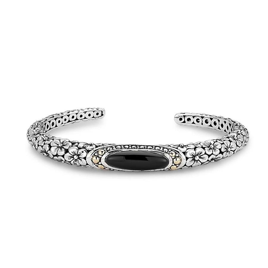 Oval Black Onyx Floral Design Bangle in Sterling Silver and 18 Karat Yellow Gold