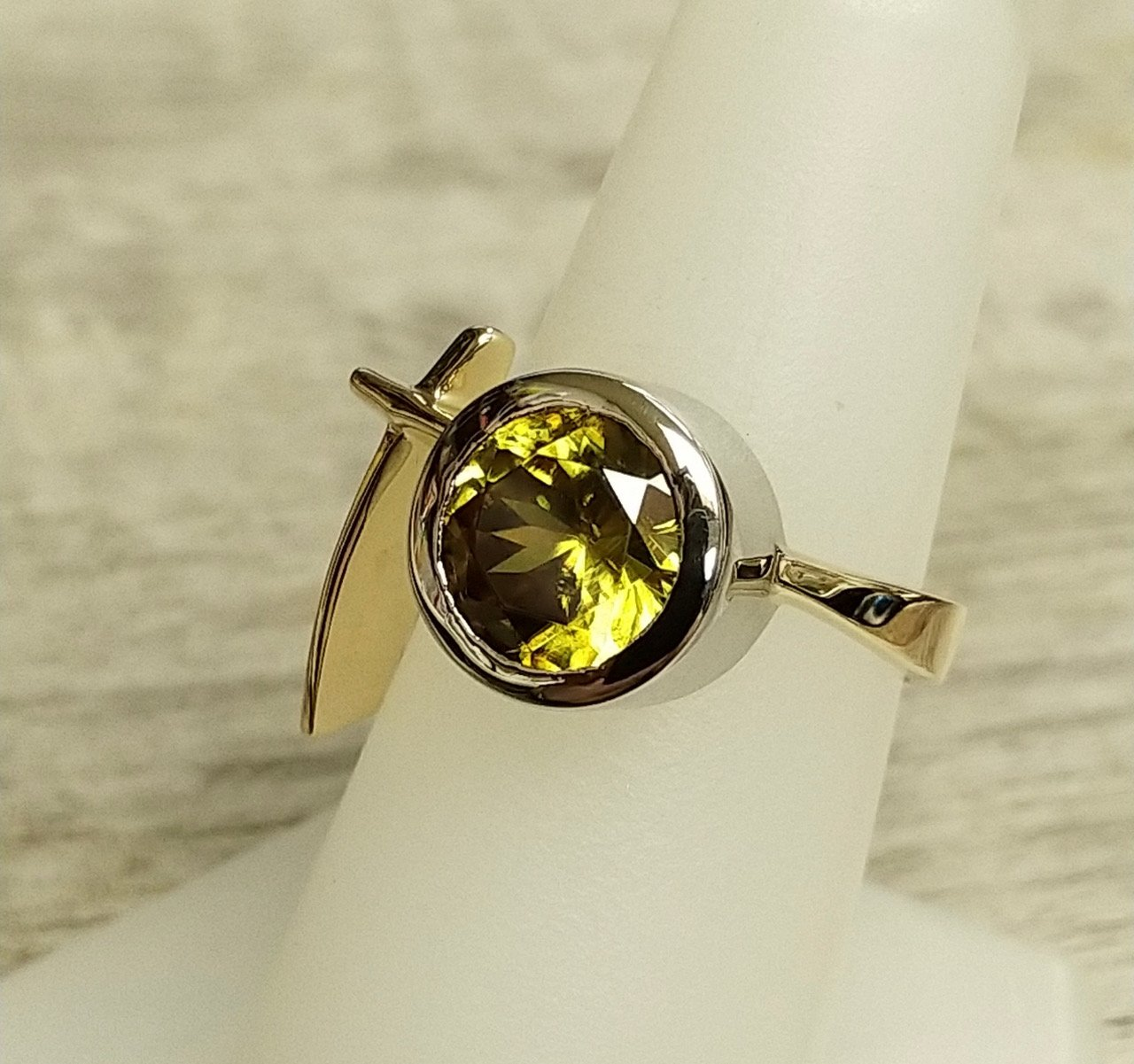 3.29 Total Carat Weight Sphene Bezel Set in 14 Karat White and Yellow Gold