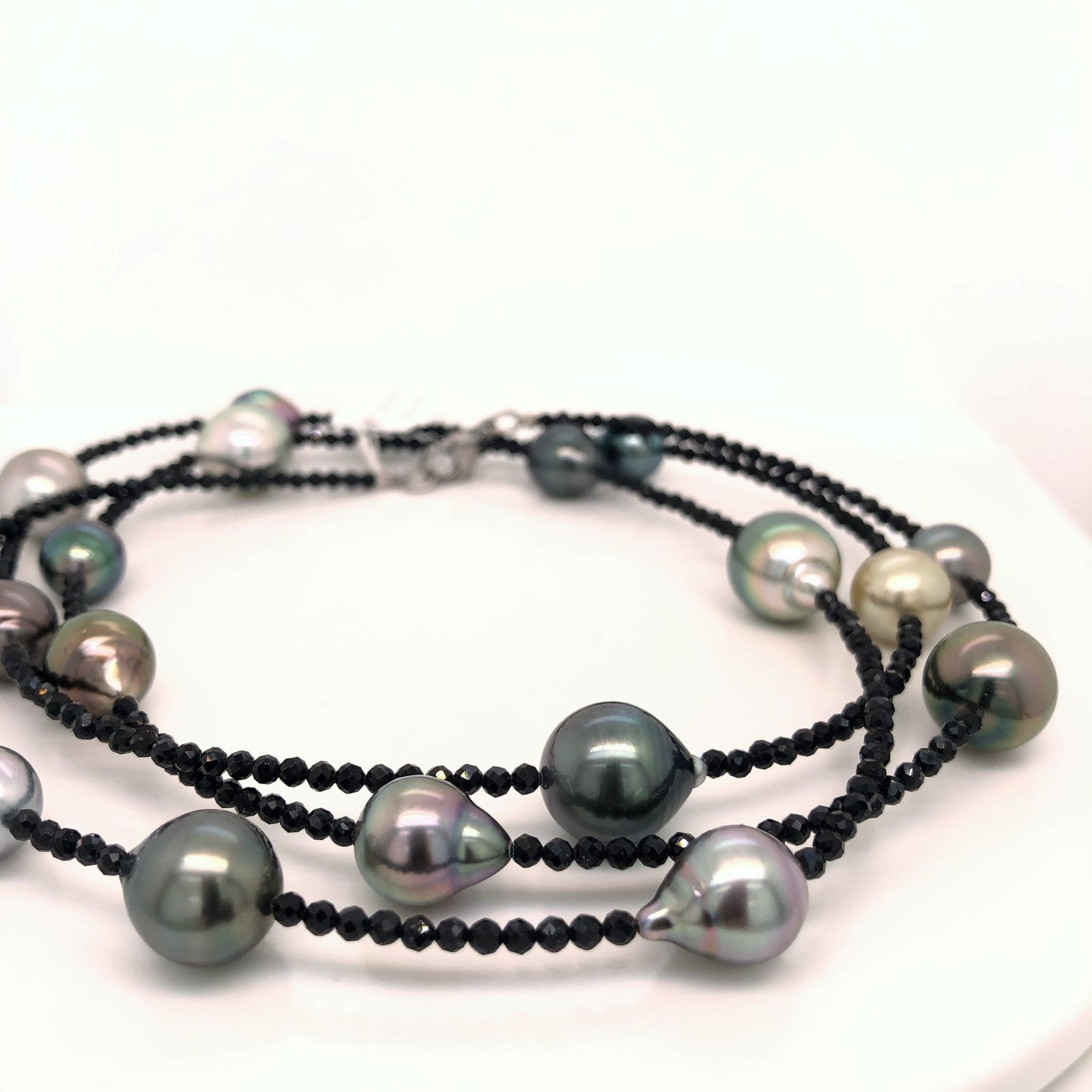 28 Tahitian Pearl & Black Spinel Bead Necklace