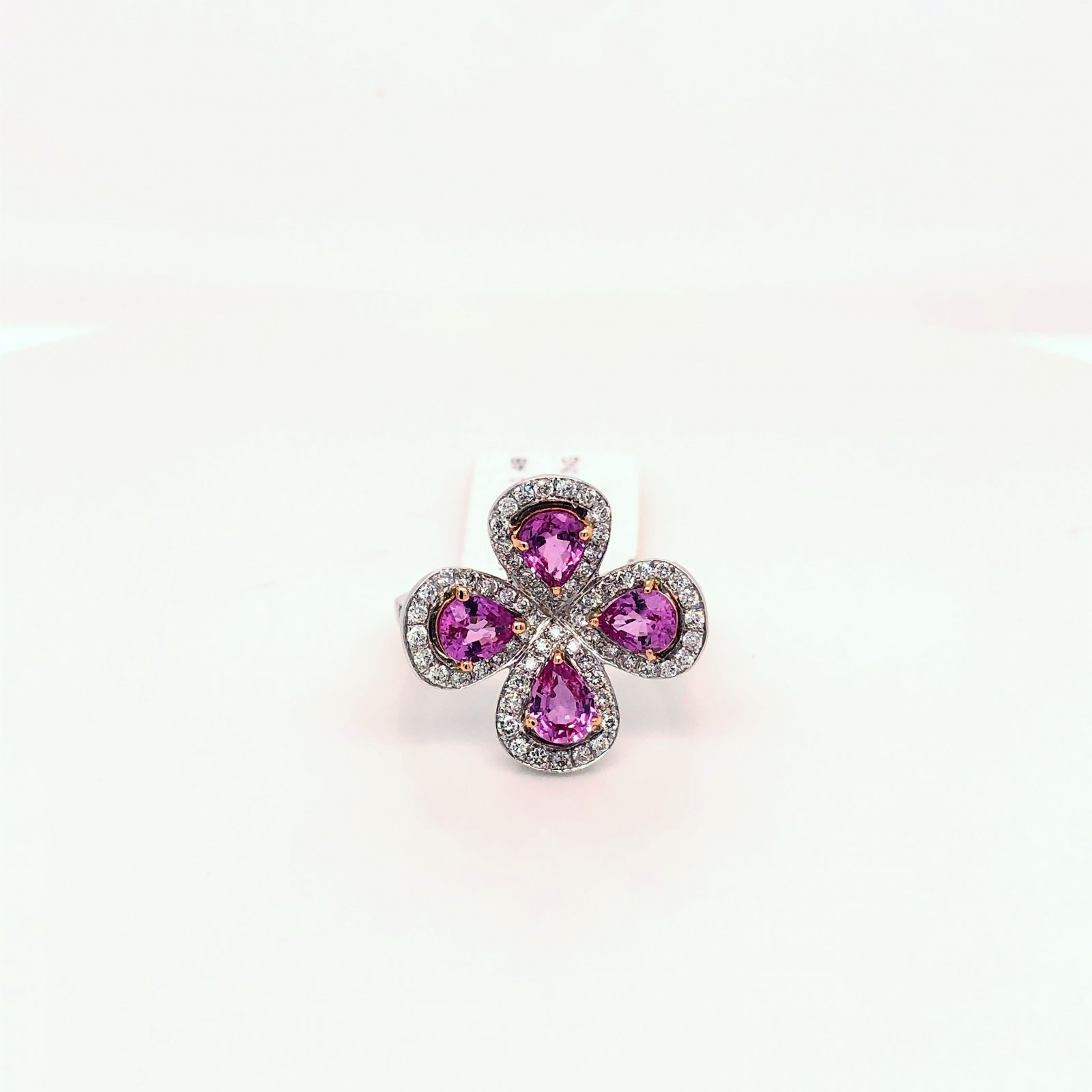 1.48tcw Pink Sapphire and Diamond Flower RIng set in 18k White Gold