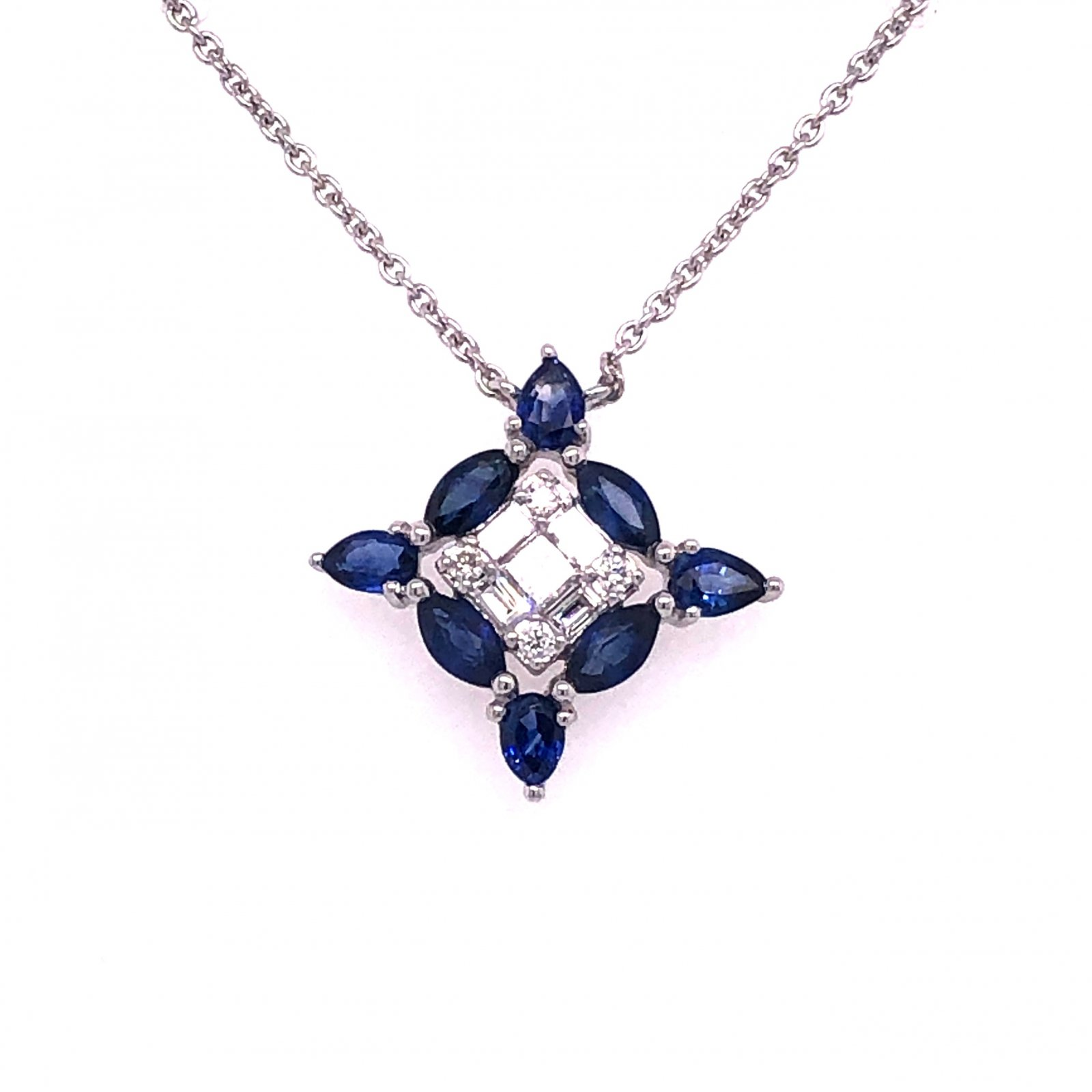 0.67tcw Blue Sapphire & Diamond Necklace set in14k White Gold