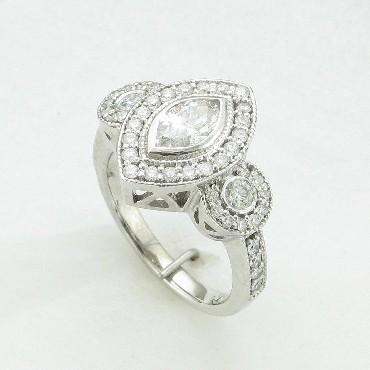 0.58ct Marquise Diamond Ring Set in 14 Karat White Gold