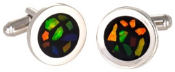 Ammolite Elements Round Cuff Links set in Sterling Silver
