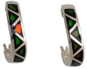 Ammolite Elements Hoop Earrings set in Sterling Silver