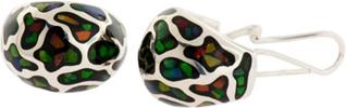 Ammolite Elements Domed Hoop Earrings Set in Sterling Silver
