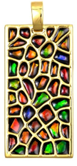 Ammolite Elements Rectangle Pendant set in Gold Plated Sterling Silver