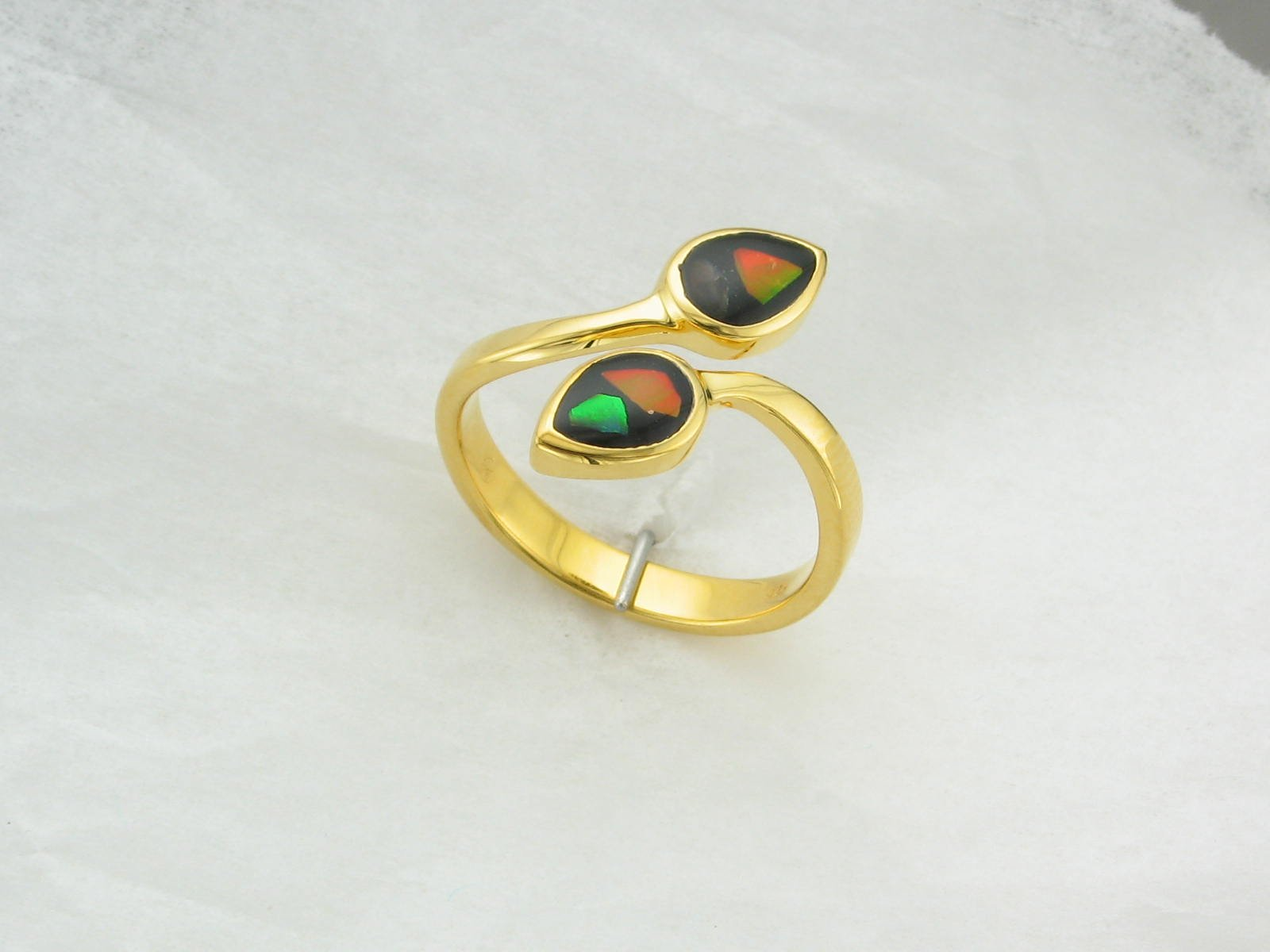B Grade Ammolite Elements ByPass Ring set in Gold Plated Sterling Silver