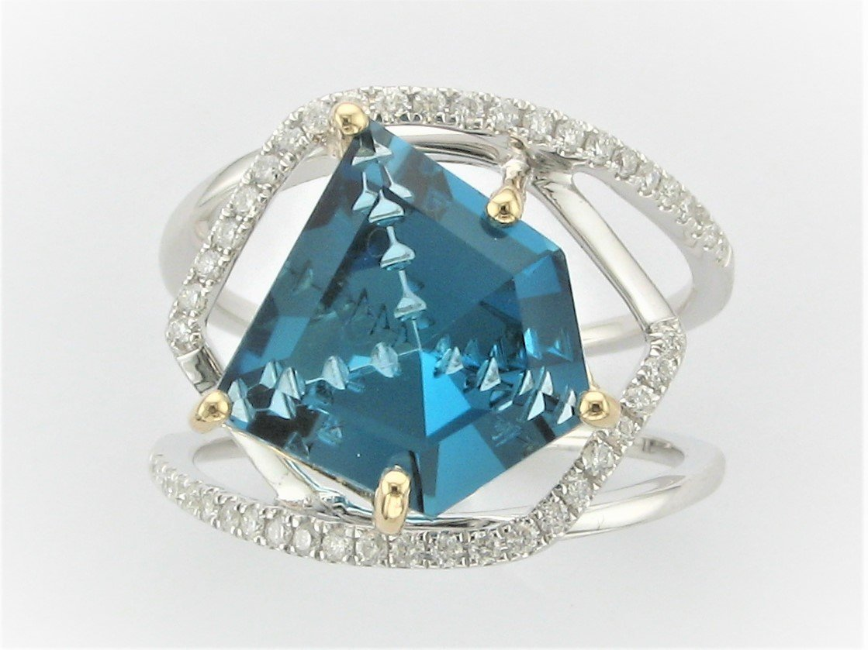 7.0 Carat London Blue Topaz and .28 Carat diamond Ring Set in Two Tone 14 Karat White and Yellow Gold