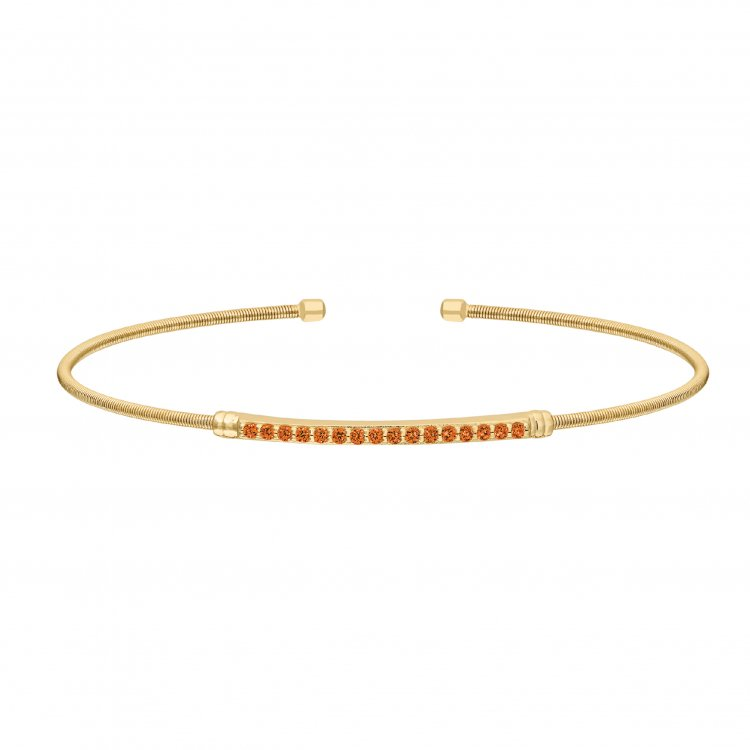 Gold Finish Sterling Silver Cable Cuff Bracelet with Simulated Citrine Birth Gems - November