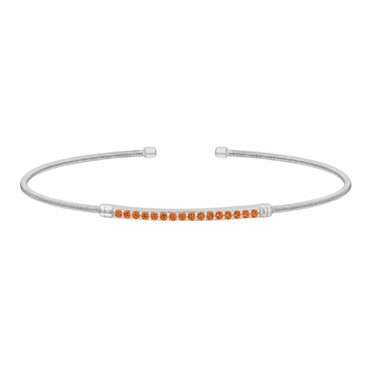 Rhodium Finish Sterling Silver Cable Cuff Bracelet with Simulated Citrine Birth Gems - November