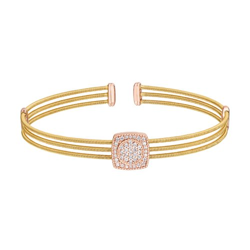 Gold Finish Sterling Silver Three Cable Cuff Bracelet with Rose Gold Finish Simulated Diamond Circle in Square
