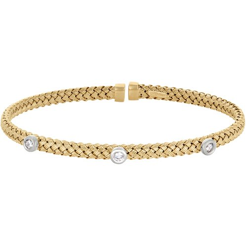 Gold Finish Sterling Silver Basketweave Cuff Bracelet with Rhodium Finish Bezel Set Simulated Diamonds