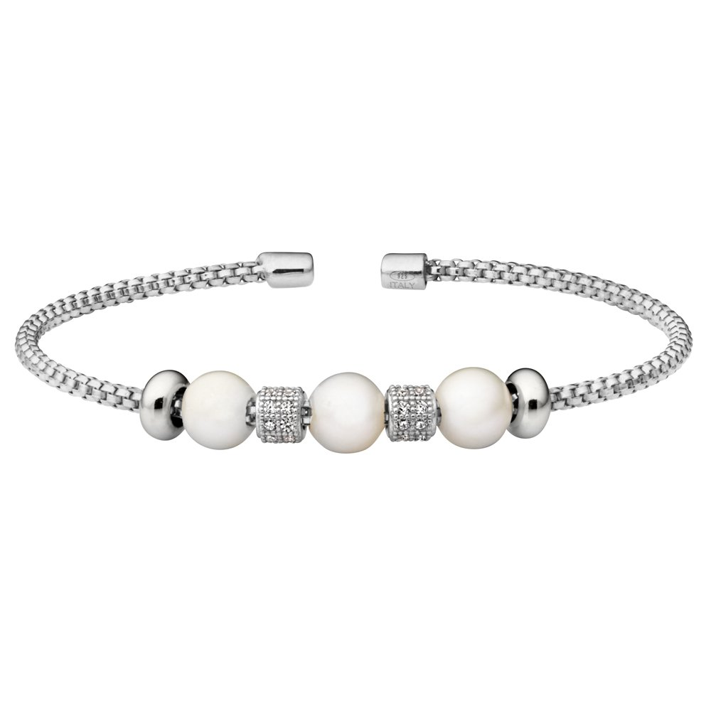Rhodium Finish Sterling Silver Rounded Box Link Cuff Bracelet with Simulated Pearls and Simulated Diamond Barrels
