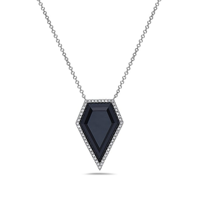 5.35ct Black Agate & 0.18tcw Diamond Necklace set in 14K White Gold