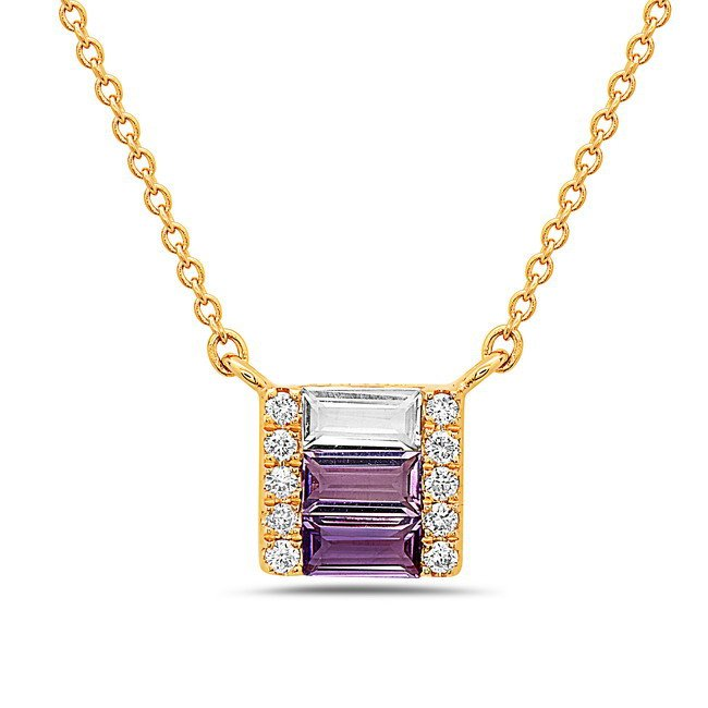 0.28tcw Amethyst, White Topaz & Diamond Necklace Set in 14 Karat Yellow Gold