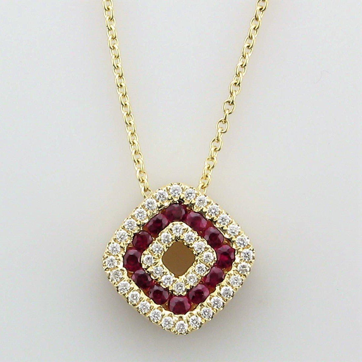 14K Yellow Gold Diamond & Ruby Diamond Shaped Necklace