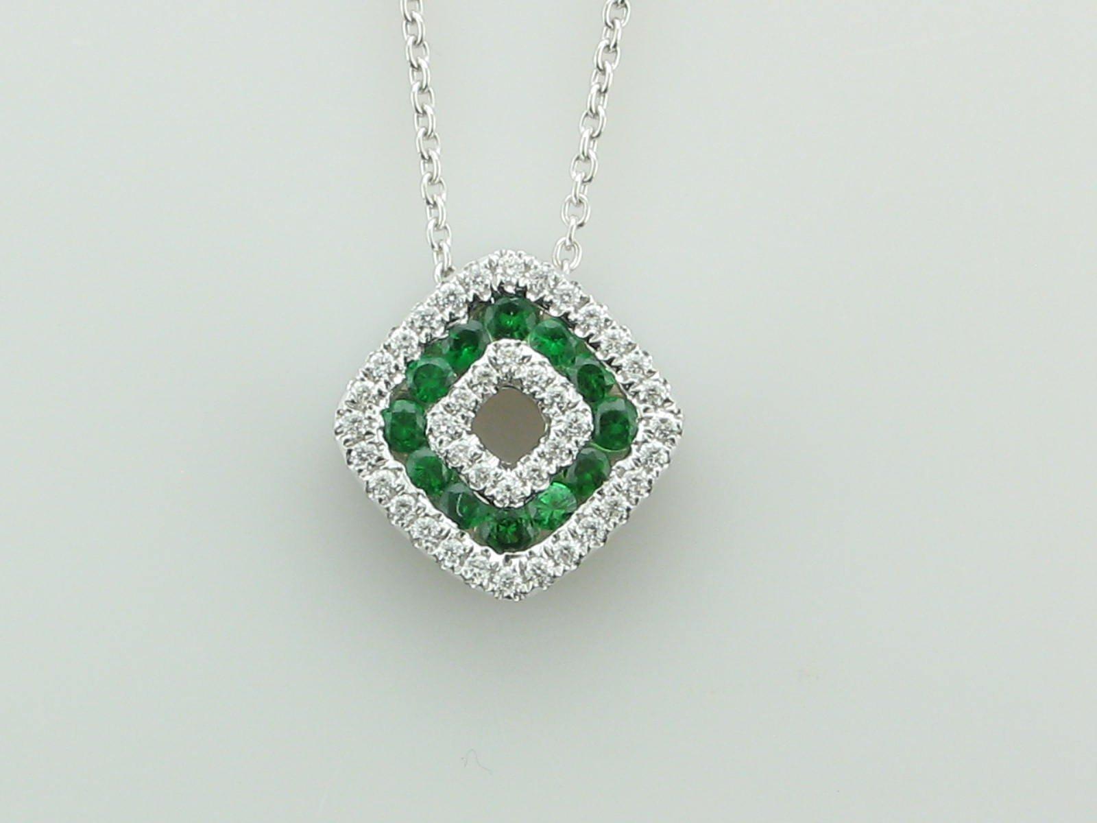 14K White Gold Diamond & Emerald Diamond Shaped Necklace - copy
