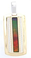 AA Grade Ammolite Pendant set in 14K Yellow/White Gold