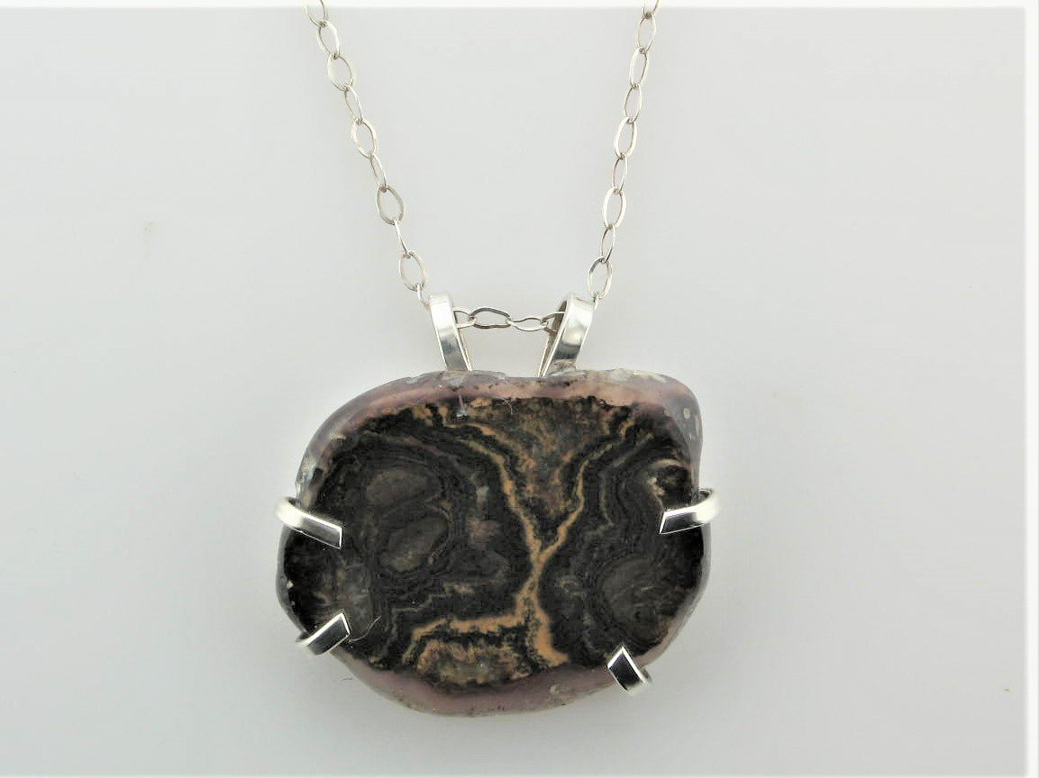 Panama Agate with Quartz Necklace set in Sterling Silver
