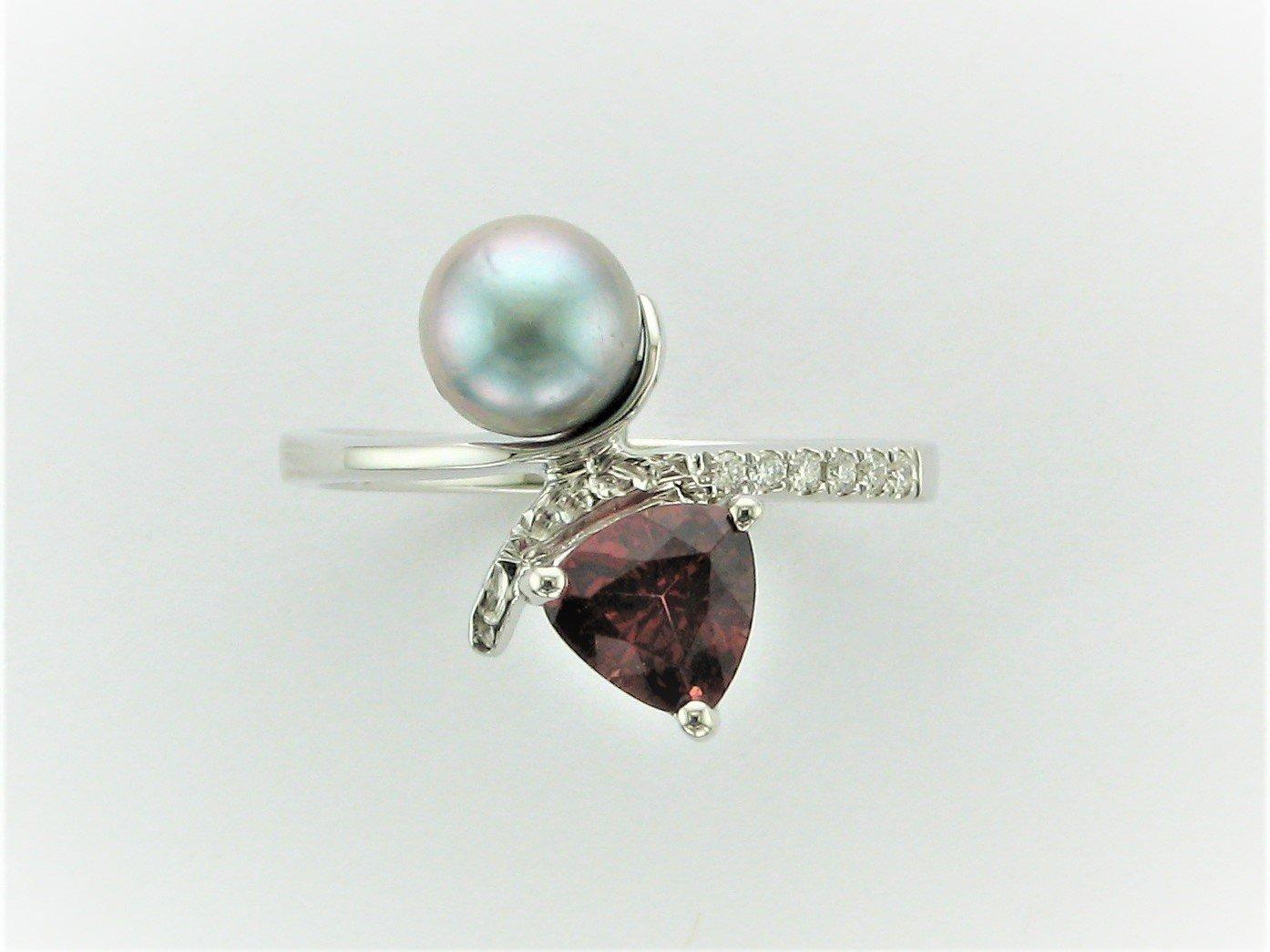 1.08 Rhodolite Garnet and 6mm Grey Pearl and Diamond Ring Set in 14 Karat White Gold