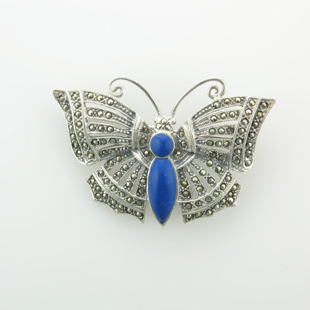 Lapis Lazuli & Marcasite Butterfly Pin set in Sterling Silver