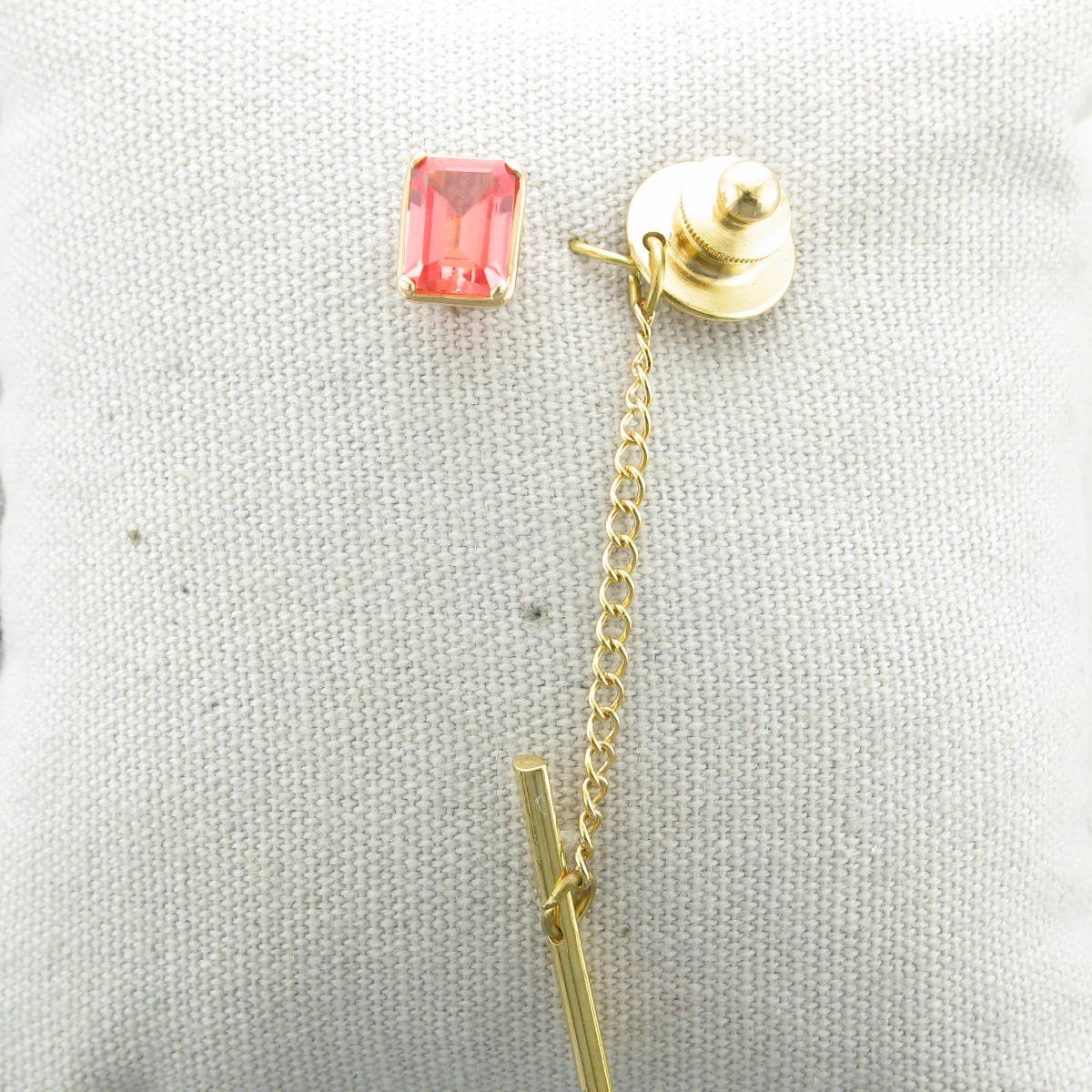 2.11ct Created Padparadscha Sapphire Tie Tack set in 14K Yellow Gold