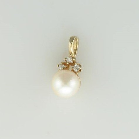 6mm Pearl & Diamond Pendant set in  14K Yellow Gold