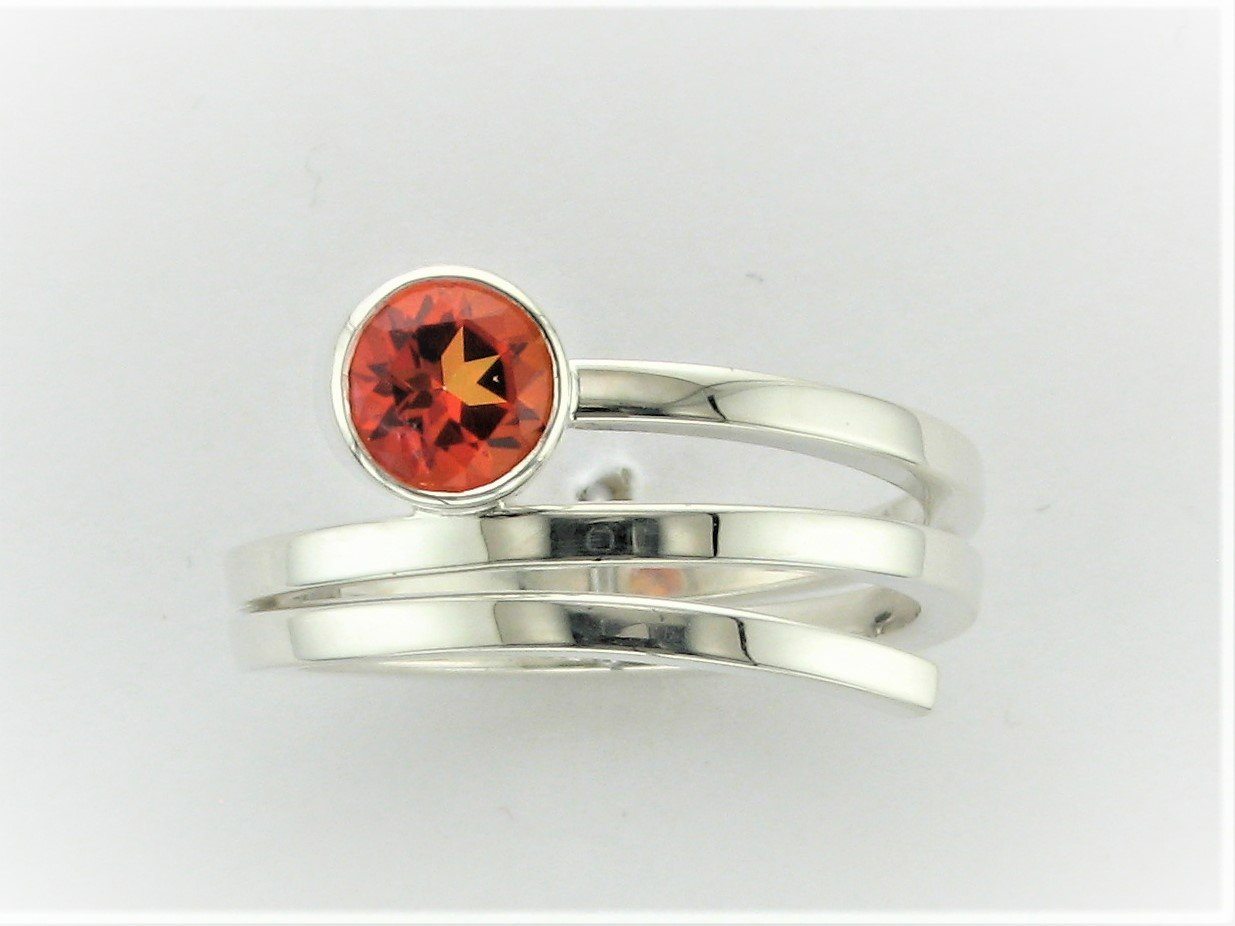 .94 Total Carat Weight Passion Topaz Ring Set in Sterling Silver