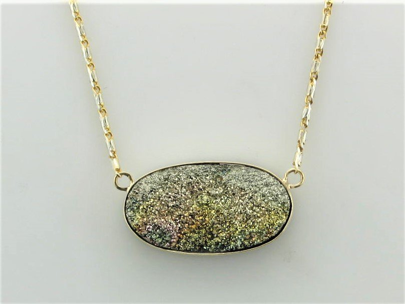 20 x 11 Millimeter Rainbow Pyrite Druzy Stationary Necklace Set  in 14 Karat Yellow and White Gold