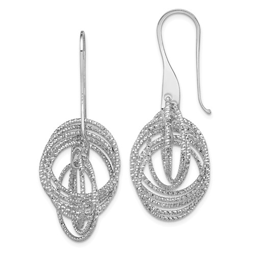 Diamond Cut Circles Dangle Earrings in Sterling Silver