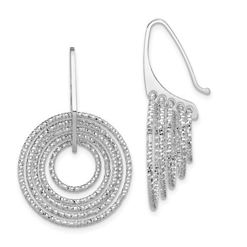 Diamond Cut Sterling Silver Rhodium-Plated Dangle Circle Earrings