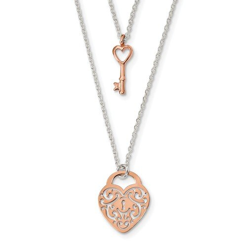 16 Heart, Lock & Key Necklace in Rose Tone Sterling Silver