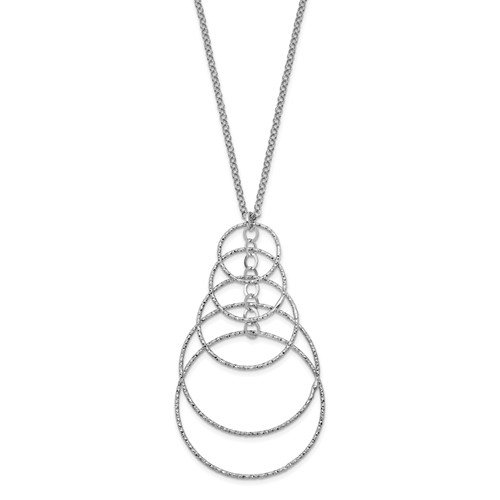 32.5 Sterling Silver Laser-Cut Concentric Circle Necklace