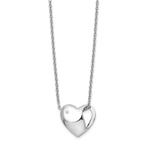 0.01ct White Ice DIamond Heart Necklace in Sterling Silver