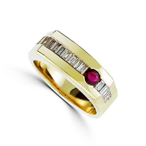 Men's 0.39 CT Ruby And 1.07 CT Diamond Ring Set in 14 Karat Yellow Gold