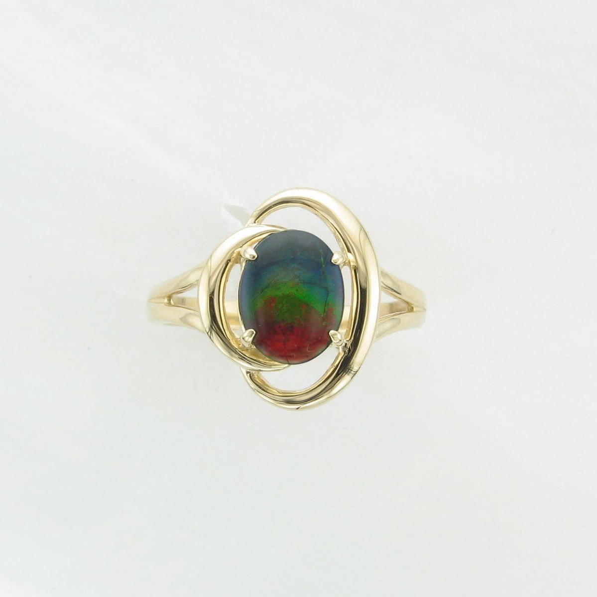 Oval Amoliite Ring set in 14k Yellow Gold