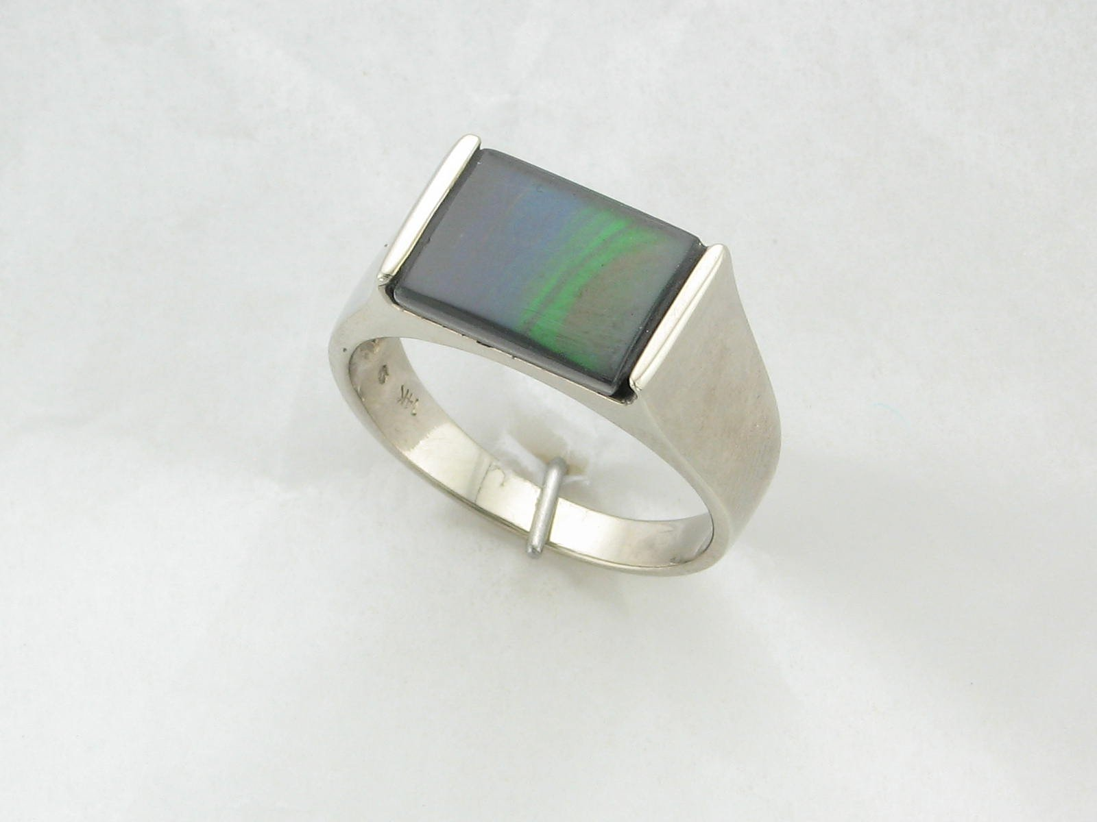 A Grade Ammolite Ring set in 14K White Gold