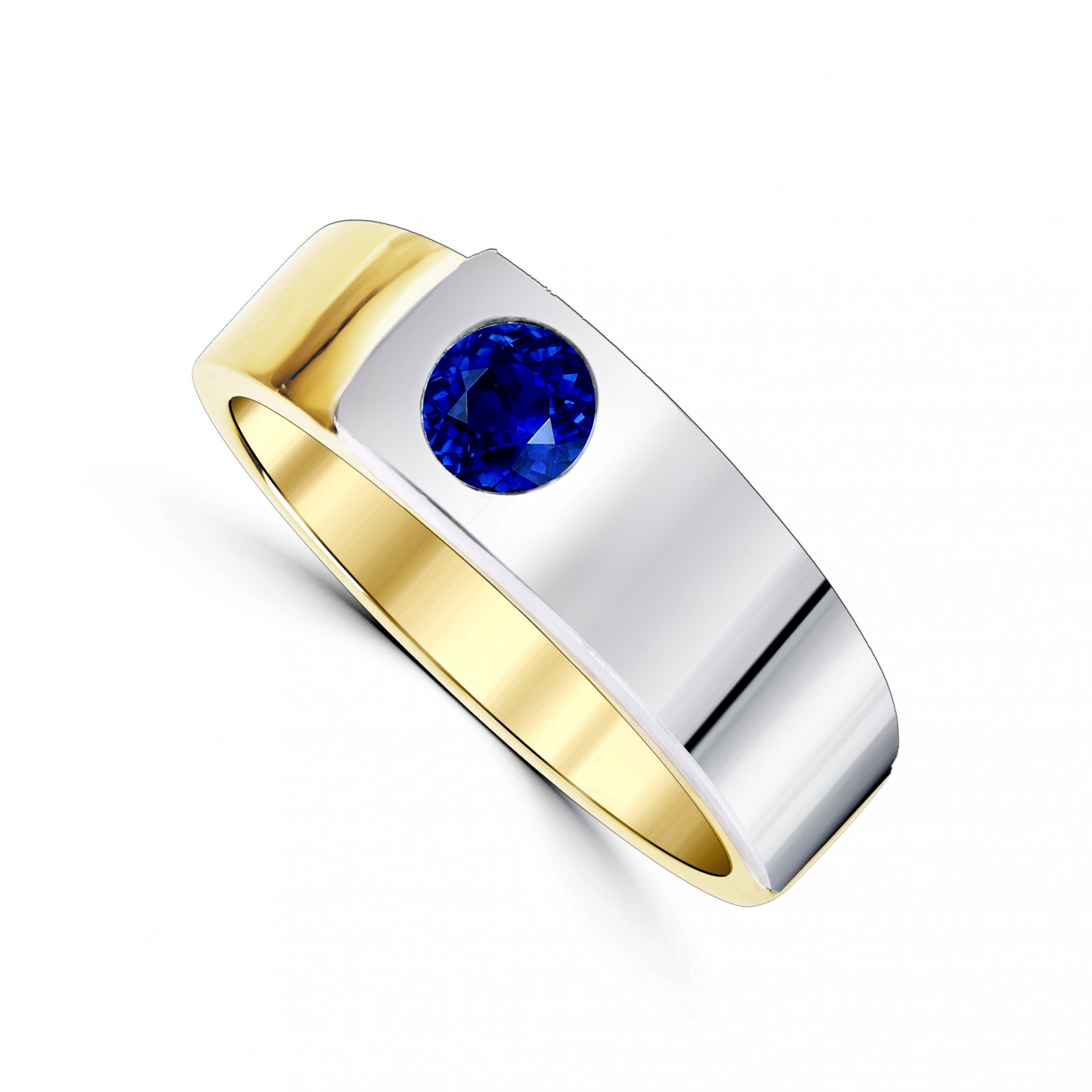 Men's Custom 0.86 Total Carat Weight  Round Sapphire Ring Set in Two Tone Yellow and White Gold
