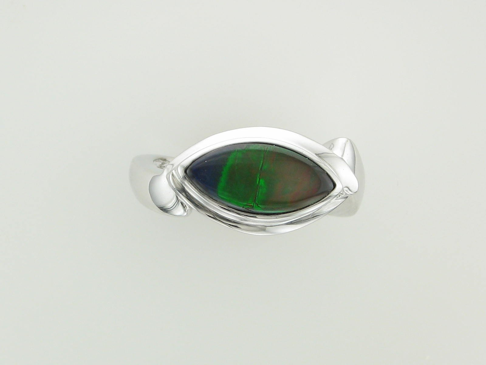 AA Grade Ammolite Ring set in 14K White Gold