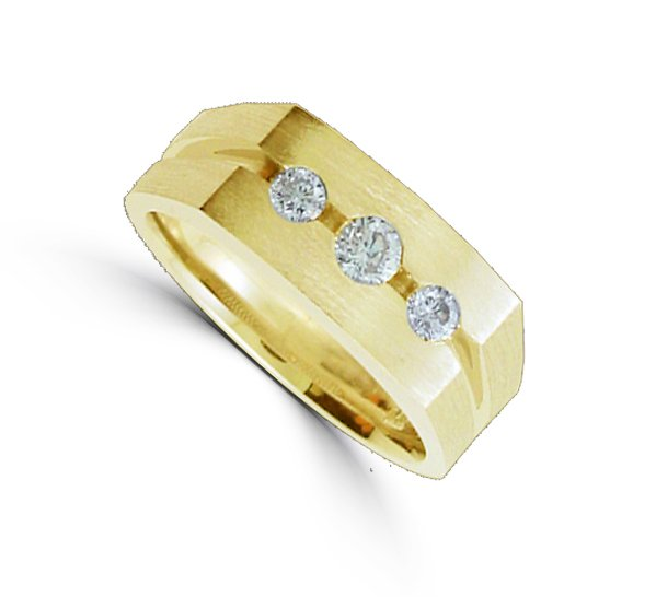 Men's 0.52 Total Carat Weight  Diamond Ring Set in 14 Karat Yellow Gold
