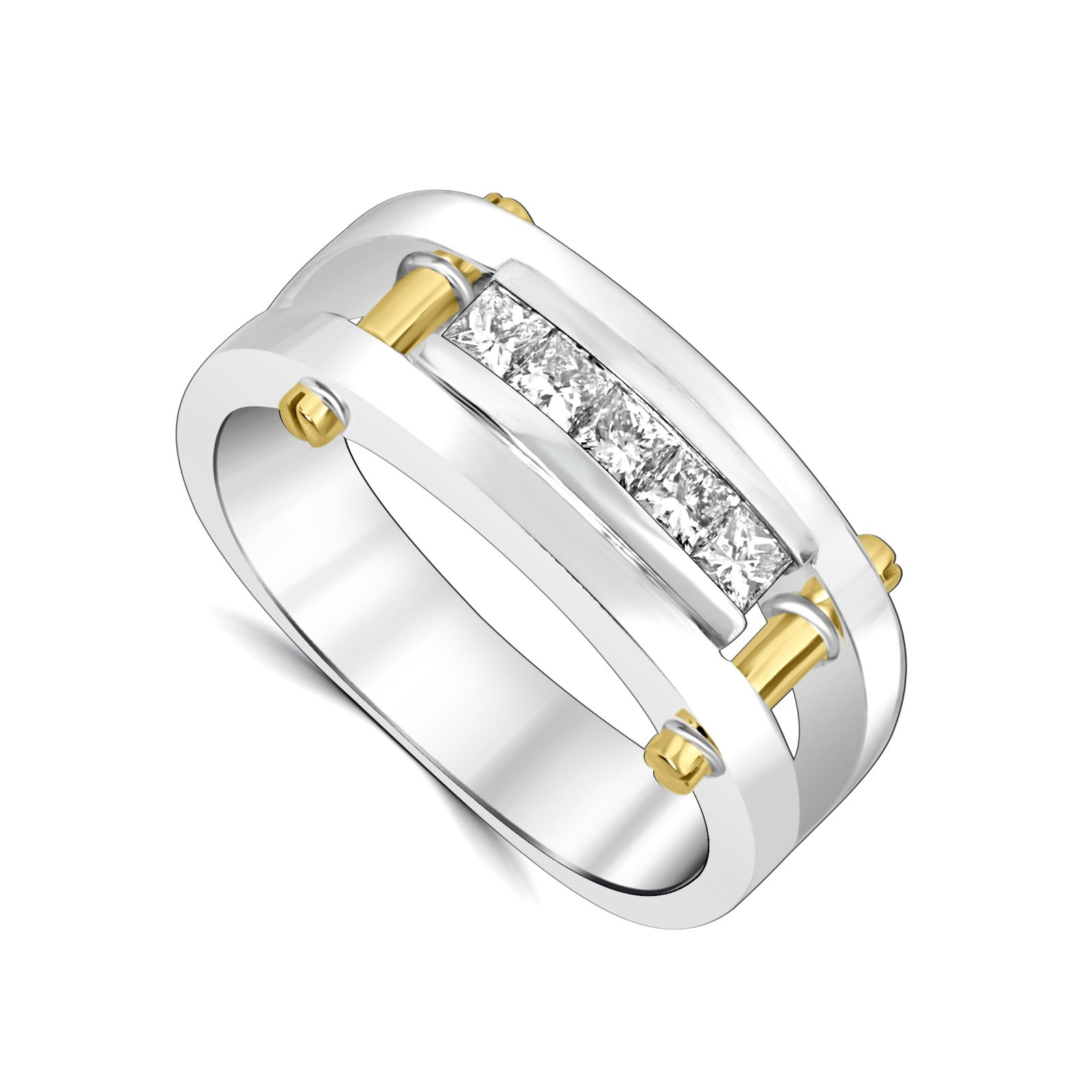 Men's 0.67 Total Carat Weight Custom Diamond Ring Set in 14 Karat White  Gold with Yellow Gold Accents